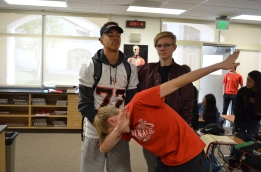 Brase Dottin '20 and Fedor Kirilenko '20 stands by as Patrick Hyde '20 goes in for a dab. Credit: Casey Kim '20 / SPECTRUM