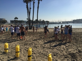 The seventh graders play volleyball on the day out on the beach. Credit: Printed with the permission of Kate Benton