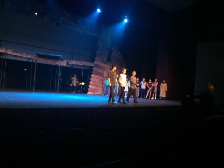 Three male performers sing in scene Credit: Sarah Reiff '20/SPECTRUM