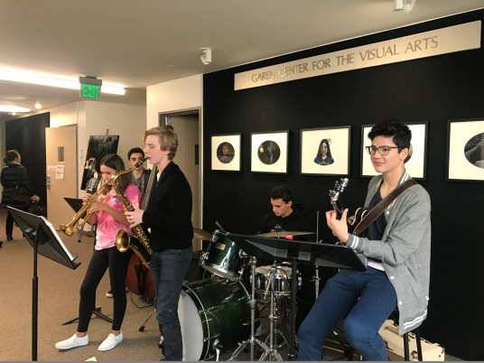 The Jazz Explorers: Erik Anderson '20, Grace Burton '20, Otis Gordon '20, Abe Kaye '20, Andy Lee '20 perform at the art show. Credit: Astor Wu '20/SPECTRUM