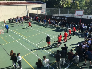 The whole Middle School comes together as a community to watch the annual games that take place in the lower and upper courts during the month of March and April. Credit: Caitlin Chung '20/SPECTRUM