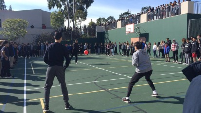 Students compete in a dodgeball game during break. Credit: Caitlin Chung '20/SPECTRUM